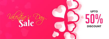 Paper cutout style heart decorated header or banner design with vector illustration