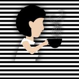 Paper Cutout Woman Drinking Coffee Stock Image