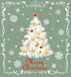 Paper cutting Christmas white tree with golden balls, baubles, cookies, candy, angels, star and gingerbread, paper handmade snowfl. Paper cutting Christmas white royalty free illustration