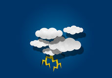 Paper Cutting,  Thunder and Cloud Royalty Free Stock Photo