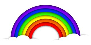 Paper 3D rainbow with clouds. Paper 3D rainbow from paper with clouds Stock Photo