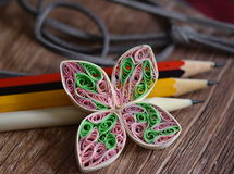 Paper decor and pens. Multicolor paper decor and pens stock photos