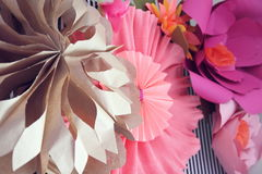 Paper decorations. Colorful paper decorations for celebration Royalty Free Stock Photos
