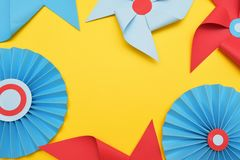 Paper Decorative Vane Colorful Background. Circus, Childhood, Festival, Party, Fun, joy, Happines. YellowBackground. Weather Paper Decorative Vane Colorful stock images