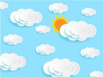 Clouds skies and sun. Paper deep cut clouds skies and sun vector. Background arts stock illustration