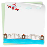 Paper design with airplane and bridge Royalty Free Stock Photos