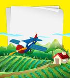 Paper design with airplane flying over the field Stock Photos