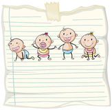 Paper design with baby boys and girls Stock Images