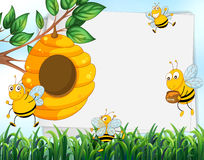 Paper design with bees and beehive. Illustration vector illustration