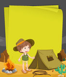 Paper design with boy camping out at night Stock Image