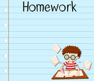 Paper design with boy doing homework Stock Image