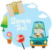 Paper design with boy driving blue car Stock Images