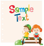 Paper design with boy and girl on bench. Illustration Royalty Free Stock Images