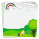 Paper design with boy in the park Stock Images