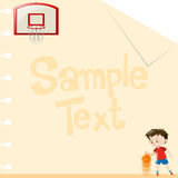 Paper design with boy playing basketball. Illustration Stock Photography