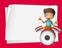 Paper design with boy playing drums Royalty Free Stock Photos