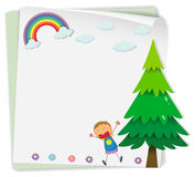 Paper design with boy and tree Stock Image