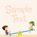 Paper design with boys on seesaw Royalty Free Stock Photo