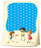 Paper design with children playing frisbee Stock Photography