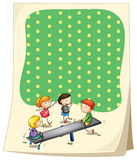 Paper design with children playing seesaw Stock Photo