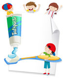 Paper design with children and toothbrush Stock Photography