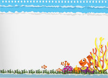 Paper design with clownfish underwater Royalty Free Stock Photo