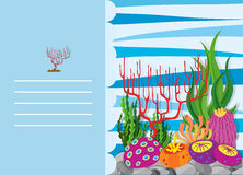 Paper design with coral reef. Illustration Royalty Free Stock Photo