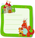 Paper design with dragon and knight Stock Photo