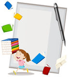 Paper design with girl and books. Illustration Stock Photo