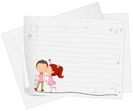 Paper design with girl kissing boy Stock Images