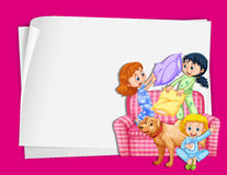 Paper design with girls in pajamas. Illustration Royalty Free Stock Image