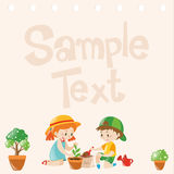 Paper design with kids planting trees Royalty Free Stock Photo