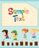 Paper design with kids running. Illustration vector illustration