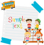 Paper design with kids and school bus. Illustration Stock Image