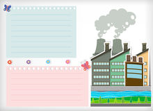 Paper design with park and factories Stock Image