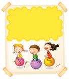 Paper design with three kids on big balls Stock Photo