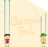 Paper design with two boys on swings Royalty Free Stock Photography