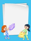Paper design with two girls in pajamas Royalty Free Stock Photography