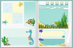 Paper design with underwater scene Royalty Free Stock Images