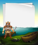 Paper design with viking at the sea. Illustration Stock Image