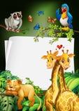 Paper design with wild animals background Stock Photo
