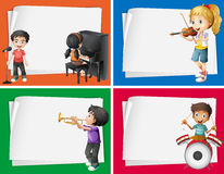Paper designs with musicians background Stock Images
