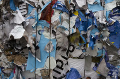 Paper detail. Bale of recycling poster paper stock photos