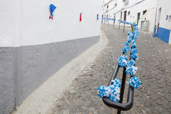 Paper details at Campo Maior Festival, Portugal. Flower festival in Campo Maior with paper flowers decorared streets,  Portugal Stock Images