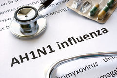 Paper with diagnosis AH1N1 influenza stock images