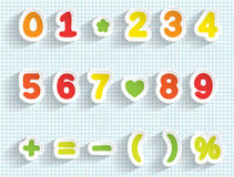 Paper digits and math signs. Handmade font. Stock Image