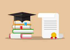 Paper diploma with stamp, books and graduation cap Royalty Free Stock Images