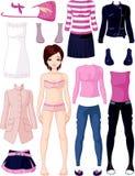 Paper docka med kläder vektor illustrationer