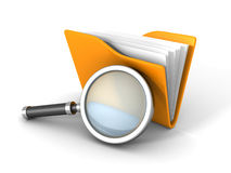 Paper Document Folder With Magnifier Glass. 3d Render Illustration Royalty Free Stock Image