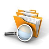 Paper Document Folders With Magnifier Glass. 3d Render Illustration Stock Photo